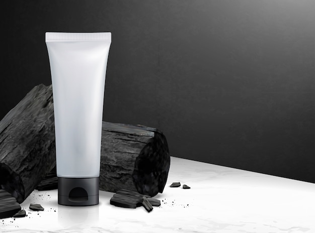 Пустая косметическая пластиковая трубка с углем в 3d иллюстрации на мраморном каменном столе и черной стене