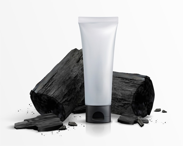 Пустая косметическая пластиковая трубка с углем в 3d иллюстрации, белый фон