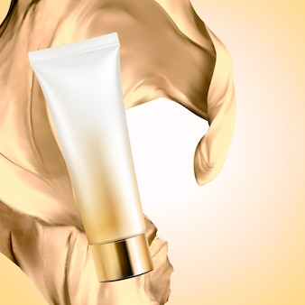 Blank cosmetic plastic tube with satin fabric on golden color background, 3d illustration
