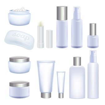 Blank cosmetic tubes and jars  on white background. face and body care products.