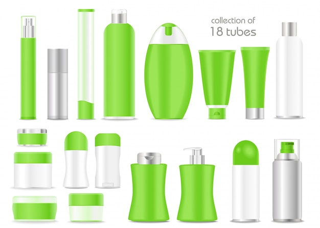 Blank cosmetic tubes set on white