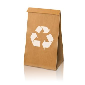 Blank craft vector realistic paper packaging bag