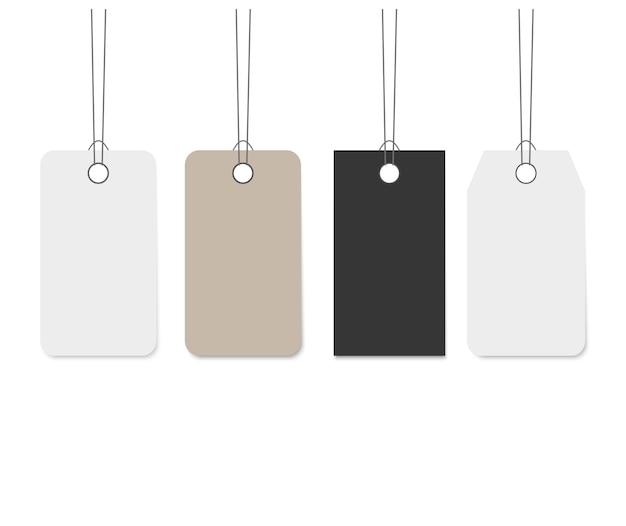 Blank dangling paper label set