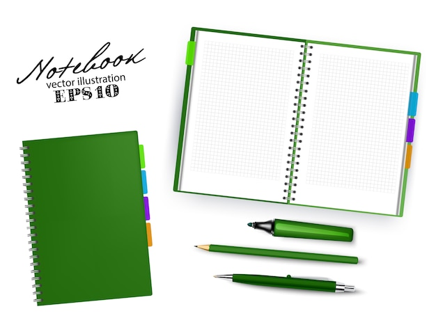 Blank dark green open and closed copybook template with pen, pencil and permanent marker.set of   illustration stationary isolated