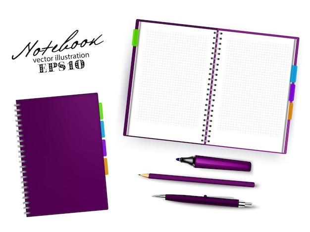 Blank dark purple open and closed copybook template with pen, pencil and permanent marker.set of   illustration stationary isolated