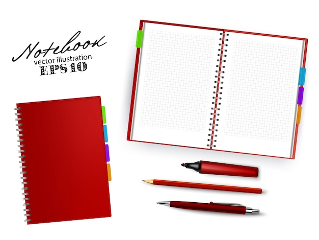 Blank dark red open and closed copybook template with pen, pencil and permanent marker.set of   illustration stationary isolated