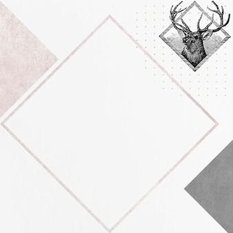 空白の鹿のひし形フレームベクトル