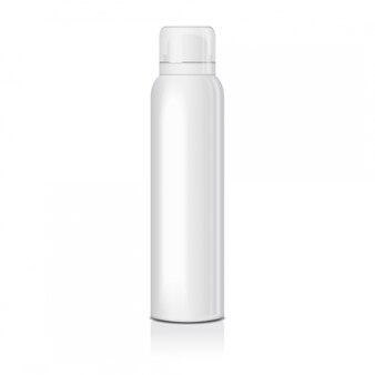 Чистый дезодорант спрей для женщин или мужчин. шаблон из белой металлической бутылки с прозрачной крышкой