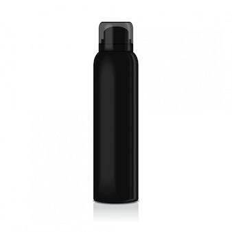 Blank deodorant spray for women or men.   template of black metal bottle with transparent cap