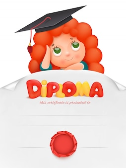 Blank diploma for kids, certificate with ginger girl cartoon character. vector illustration.