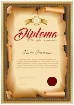 Blank diploma template of twisted old paper on wooden background.