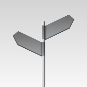 Blank direction signpost sign arrow icon  on background