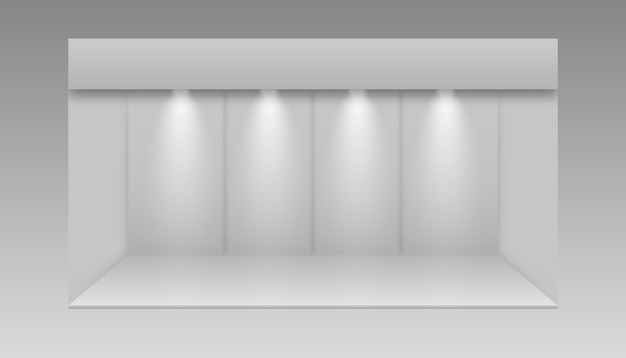 빈 디스플레이 전시 스탠드. 3d 전시 부스. 책상과 흰색 빈 홍보 스탠드입니다.