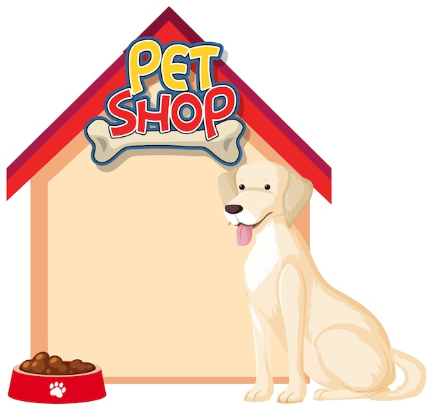Blank dog house banners with cute dog isolated on white background