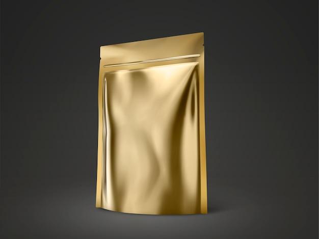 空白のdoyパック、イラストで使用するためのゴールドカラーパッケージ