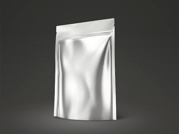 空白のdoyパック、イラストで使用するためのシルバー色のパッケージ