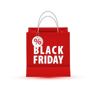 Blank empty shopping paper bag, red color for black friday
