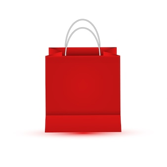 Blank empty shopping paper bag, red color
