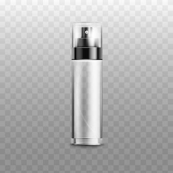 Blank empty spray bottle isolated on white background