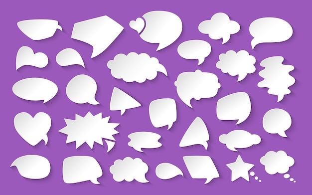 Blank empty white paper speech bubbles cartoon set.  elements dialog clouds icon, chat banner