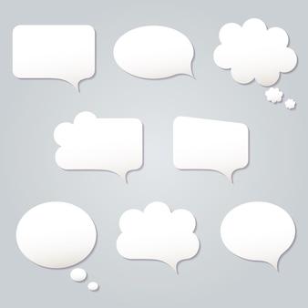 Blank empty white speech bubbles