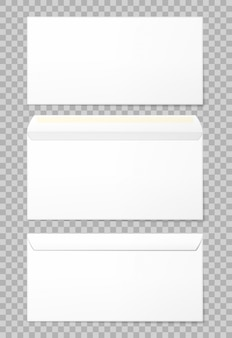 Blank envelopes set in 3 views
