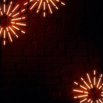 Modello di annunci social con cornice al neon festiva vuota
