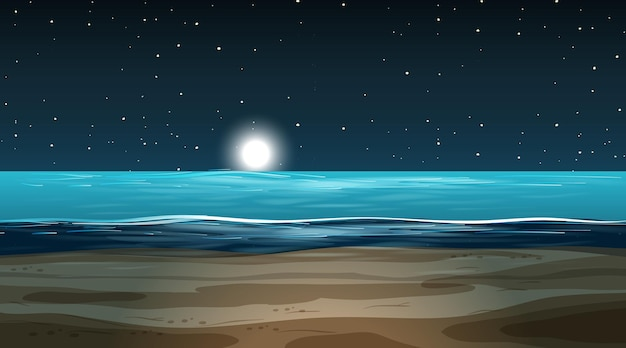 Пустой затопленный пейзаж в ночной сцене