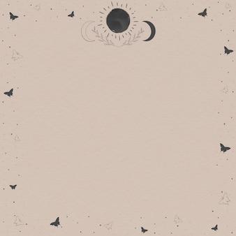 Vettore di mockup cornice floreale e astronomica in bianco