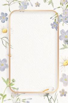 空白の花の長方形のフレーム