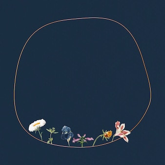 Blank floral round frame