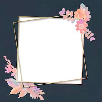 Cornice quadrata floreale vuota Vettore gratuito
