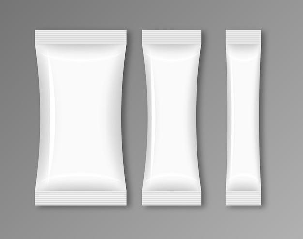ブランクフロー包装食品。スナックパックプラスチックホイルデザインテンプレートバッグ。