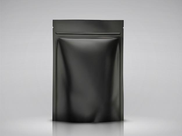 空白のフォイルバッグ、イラストで使用するための黒いパッケージ