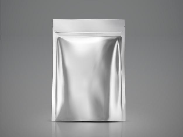 空白のホイルバッグ、イラスト用のシルバーパッケージ