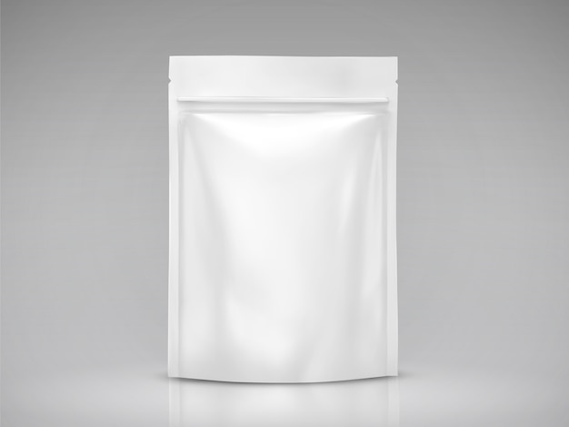 Blank foil bag , white package for  uses in  illustration
