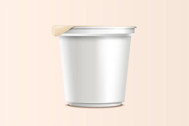 Пустой макет контейнера для пищевых продуктов, лапша быстрого приготовления или контейнер для йогурта в белом