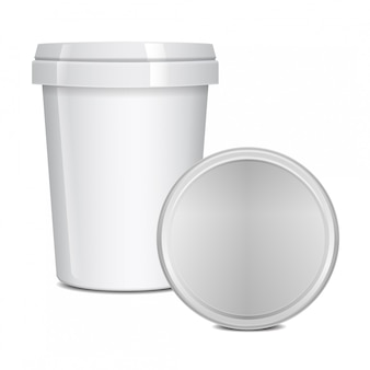Blank food cup containers for fast food, dessert, ice cream, yogurt or snack.