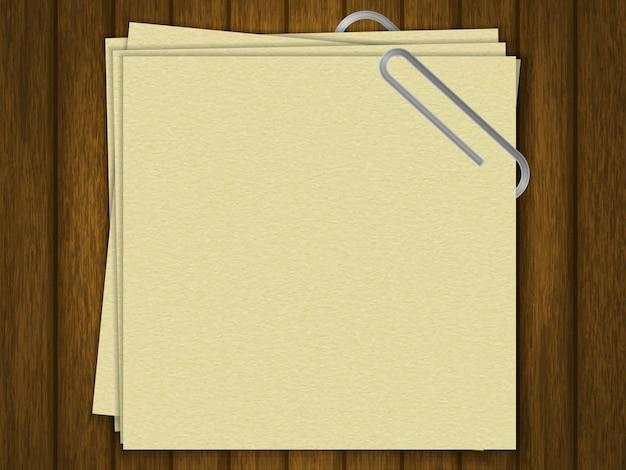 テキストは空白です。クラフト紙。あなたのデザインのテンプレート。木の背景に。リアルなスタイル。ベクトルイラスト。