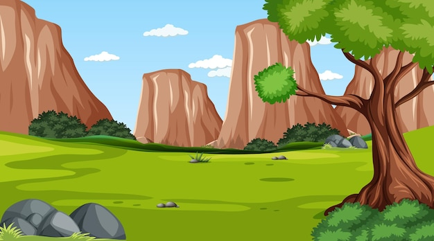 Blank forest at daytime scene with cliff background
