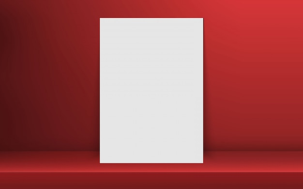 Blank frame in empty white color shelf with shadow