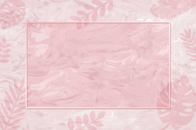ピンクのモンステラパターンの背景ベクトルの空白のフレーム