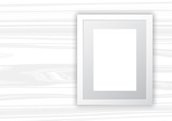 Blank frame on white wood background