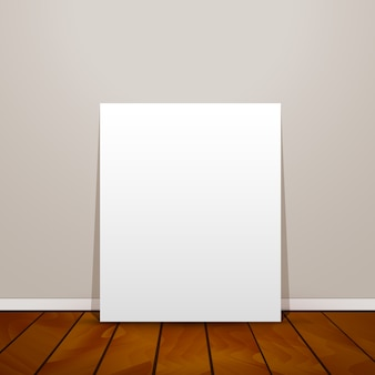 Blank frame paper sheet on wall background and wooden floor
