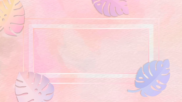 Blank frame on pastel botanical patterned background
