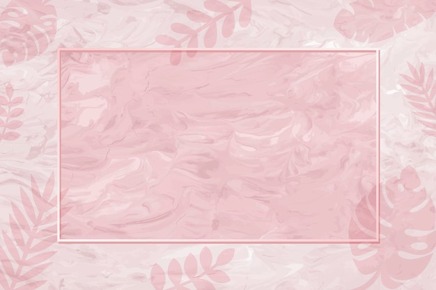Blank frame on pink monstera patterned background vector