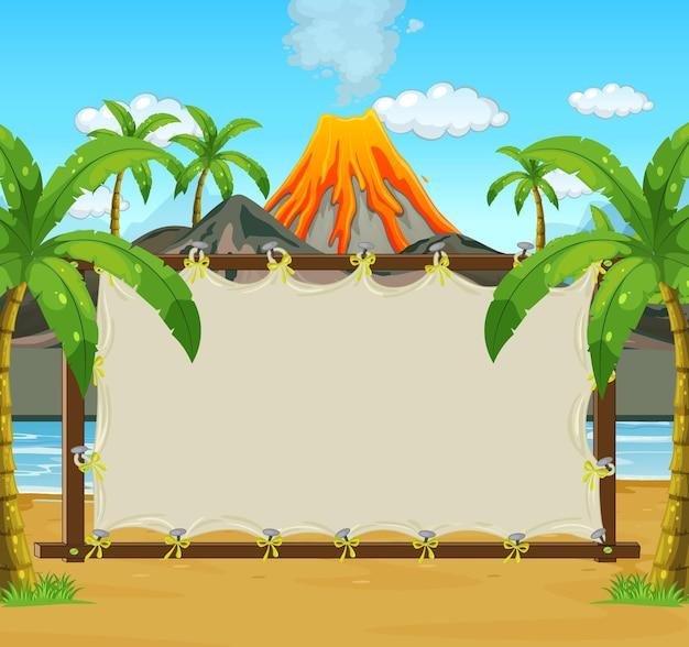 Blank frame on prehistoric scene background