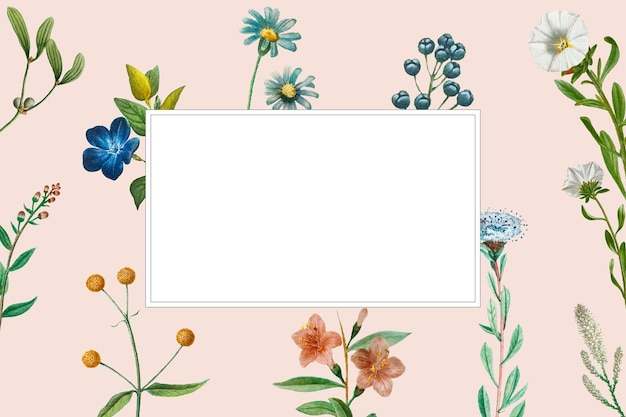 Blank frame on summer botanical background