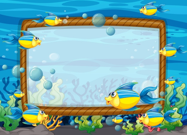 Blank frame template with exotic fishes cartoon character in the underwater scene