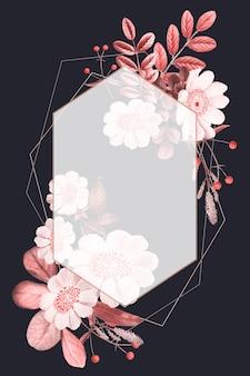 Blank frame vector on summer botanical pattern